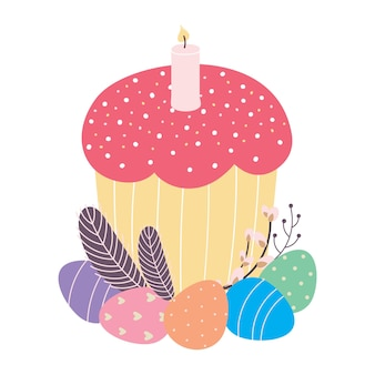 Easter cake decorated with eggs feathers and a willow twig vector illustration