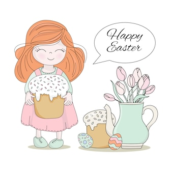 Easter cake great religious holiday vector illustration set