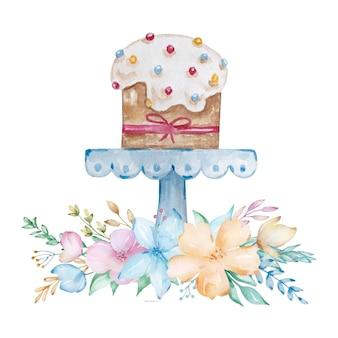 白い釉薬と白い背景の上のピンクの弓と青いスタンドのイースターケーキ