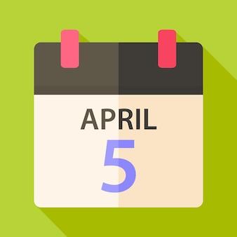 4月5日付けのイースターカレンダー。影付きのフラットな様式化されたイラスト