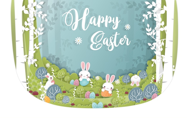 Easter card in paper cut style