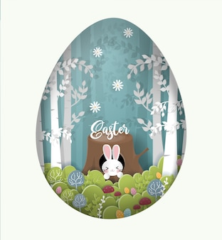 Easter card paper cut style