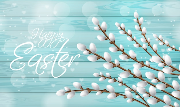Easter card realistic willow branches