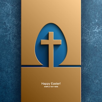 Easter card in the shape of an egg with the image of a christian cross, easter background