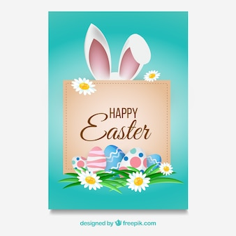 Easter card template with frame