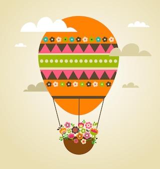 カラフルな熱気球のイースターバニーとイースターカード