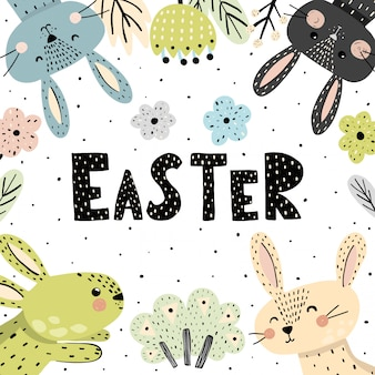 Easter card with cute bunnies
