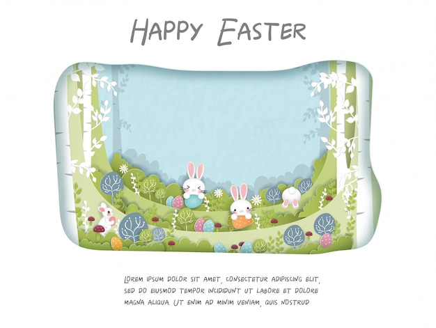 Easter card with cute bunny in the forest. paper cut  illustration.