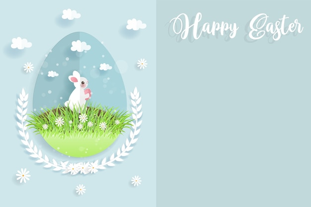 Easter card with cute rabbit in an egg shape background