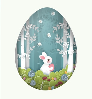 Easter card with cute rabbit holding egg in the forest