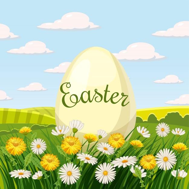 草とタンポポとヒナギクの花と卵とイースターカード