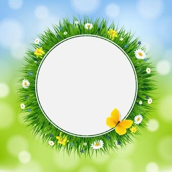 グラデーションメッシュの草と花のイースターカード