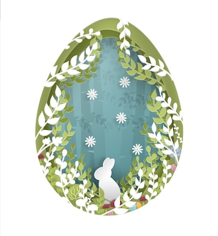 Easter card with rabbit in the forest paper cut style