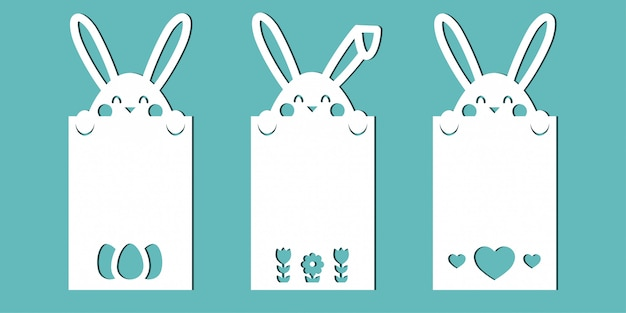 Easter cards with bunnies. a set of templates for paper cutting, laser cutting or plotter.
