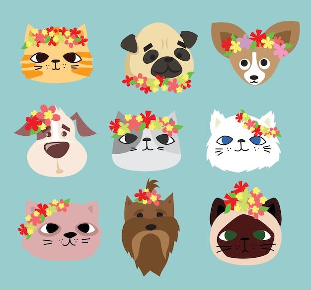 고양이와 개와 봄 꽃 부활절 카드. 평면 스타일의 행복 한 부활절