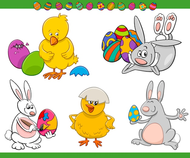 Easter cartoon characters set