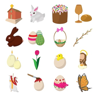 Easter cartoon icons set isolated