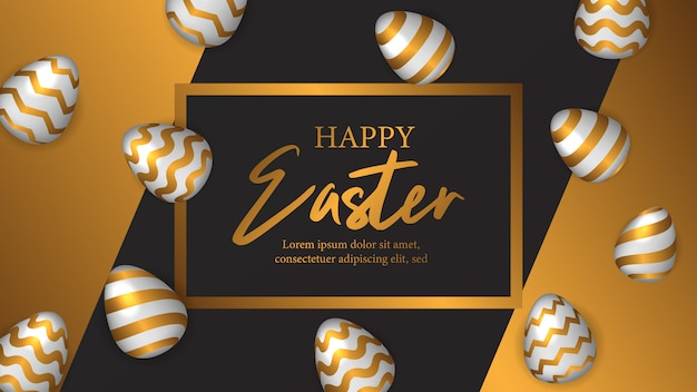 Easter celebrate invitation poster with golden egg
