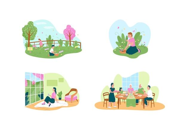 부활절 축 하를 설정합니다. 꽃을 고르고 계란을 사냥하십시오. 만화에 행복 한 가족 평면 문자입니다. 봄 시즌 휴가
