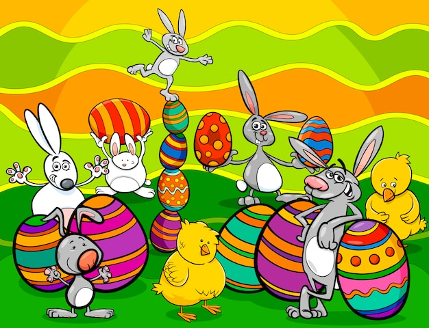 Easter characters group cartoon