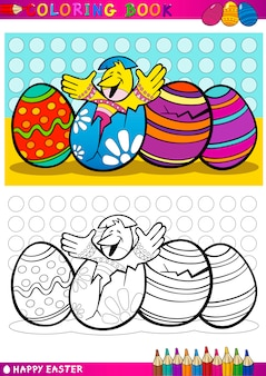 Easter chick cartoon illustration for coloring