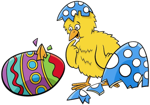 Easter chick hatched from coloered egg cartoon illustration