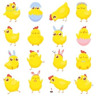 부활절 병아리. 봄 아기 닭, 귀여운 노란 병아리와 재미있는 닭 격리 만화 일러스트 세트