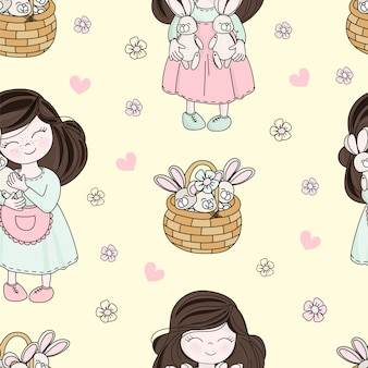 Easter child holiday seamless pattern vector illustration
