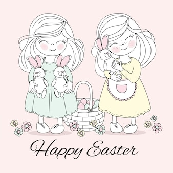 Easter children religious holiday vector