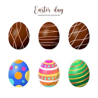 イースターチョコレートで飾られた卵コレクション