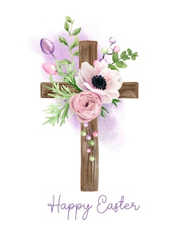 Easter christian cross with anemone flowers, easter decoration, hand drawn   watercolor illustration