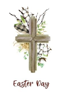 Easter christian cross with floral elements, easter decoration, hand drawn   watercolor illustration