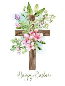 Easter christian cross with floral elementsv