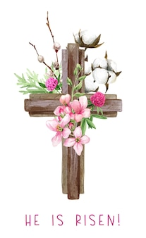 Easter christian cross with flowers, willow and cotton branch, easter decoration, hand drawn   watercolor illustration