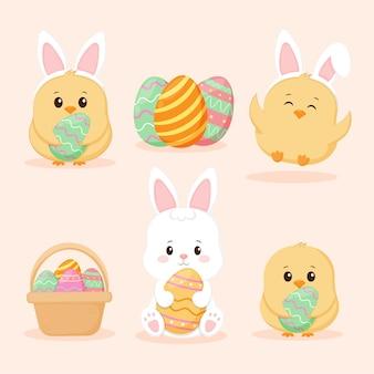 イースターコレクション。卵とかわいいひよこ。