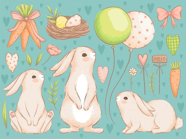 イースターコレクション。かわいいウサギ、ボール、ニンジン、色付きの卵をセットしてイースターのデザインを作りましょう。手作りの水彩画の模倣。 。