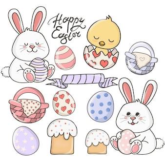 Пасхальный цветной мультфильм, милые персонажи. набор счастливой пасхи, с милыми кроликами и яйцами.