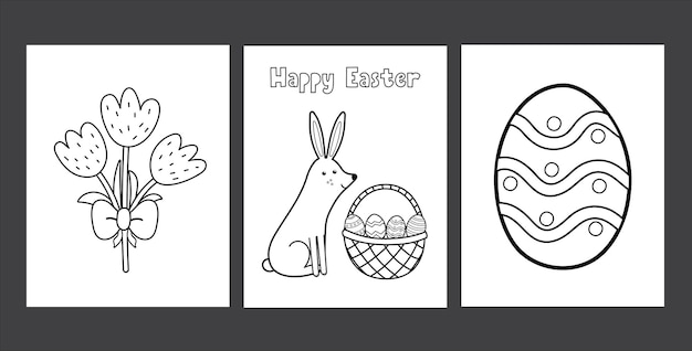 귀여운 토끼 계란과 튤립으로 설정 부활절 색칠 페이지 아이들을위한 흑백 봄 활동 페이지 컬렉션 토끼 색칠하기 책