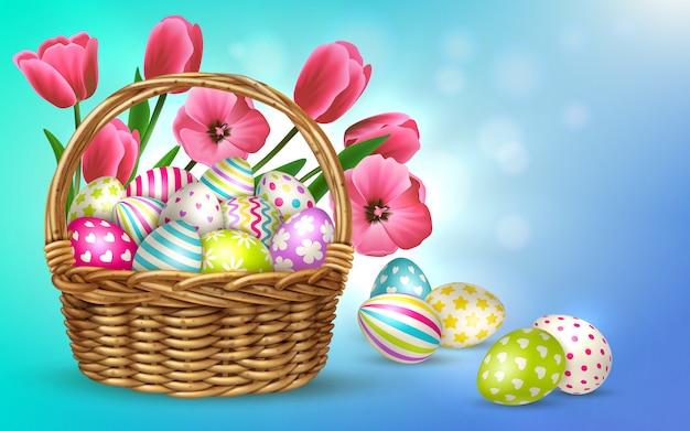 Пасхальная композиция с размытым фоном и изображениями корзины, наполненной цветами и праздничными пасхальными яйцами, иллюстрация