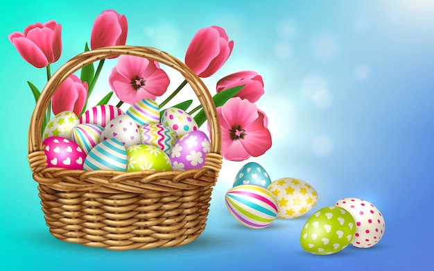 Easter composition with blurry background and images of basket filled with flowers and festive easter eggs  illustration