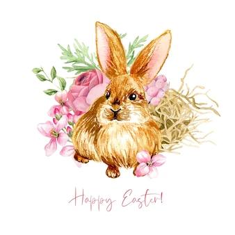 かわいいウサギと干し草のイースター作曲。手描きの水彩イラスト。