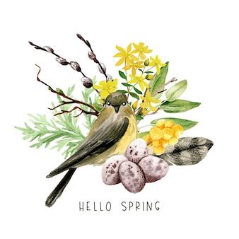 柳、鳥、黄色い花と羽のイースター構成。手描きの水彩イラスト。