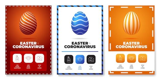 하나의 아이콘 포스터 세트 그림에서 모두 부활절 코로나 바이러스 프리미엄 벡터