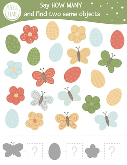 Easter counting game with holiday symbols. spring math activity for preschool children.