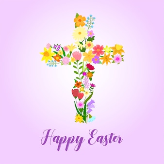 Easter cross decorated with flowers