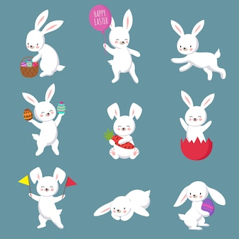 Easter cute happy bunny rabbit  characters set
