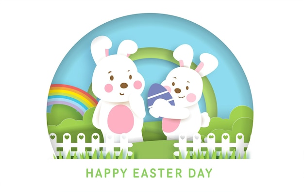 かわいいウサギとイースターエッグとイースターの日の背景とバナー