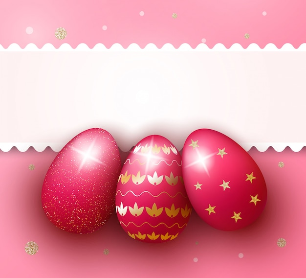 Easter day background with realistic 3d pink eggs