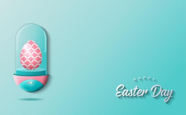 Пасхальный день фон с реалистичным пасхальным яйцом