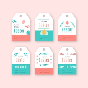 Easter day badge collection in flat design